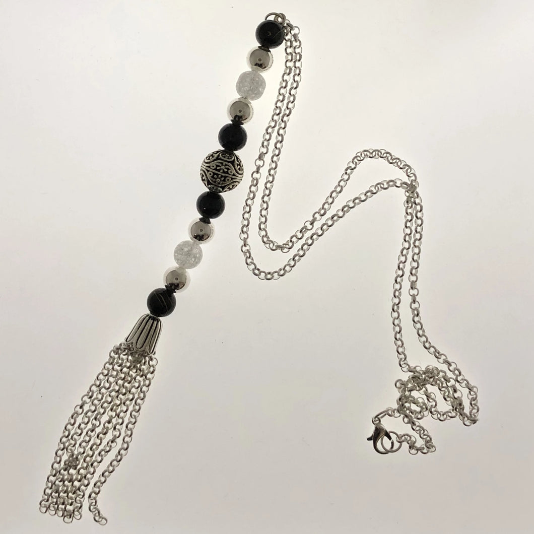 Understated elegance -Silver Plated Tassel Pendant Necklace with Black Dragon Vein Beads - All The Small Things