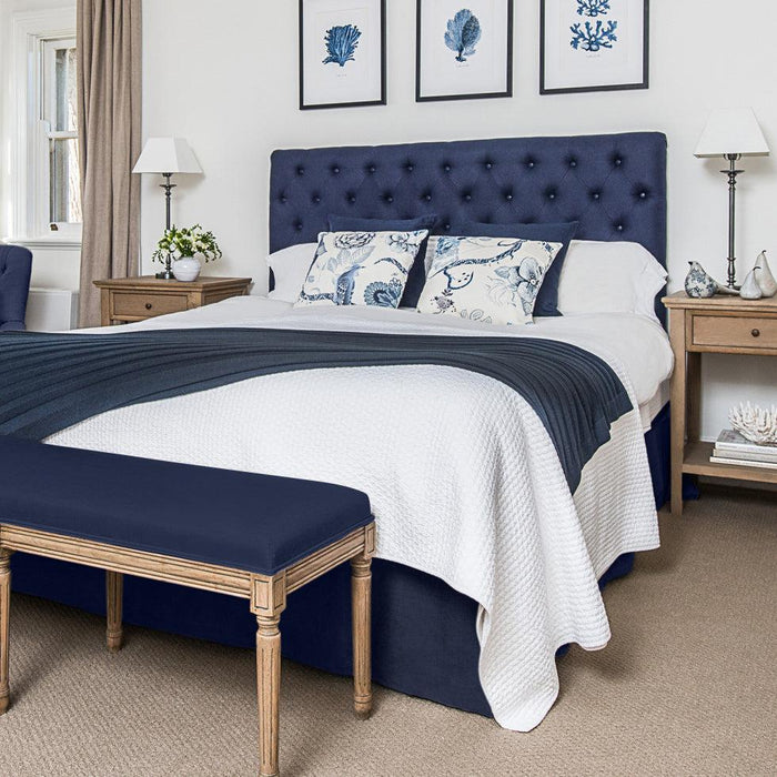 Navy Linen Buttoned Bedhead Package