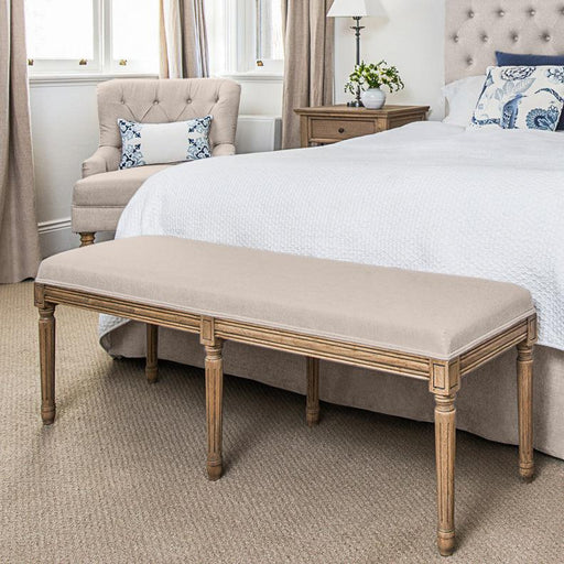 Natural Linen Bed Ottoman - Oak Frame