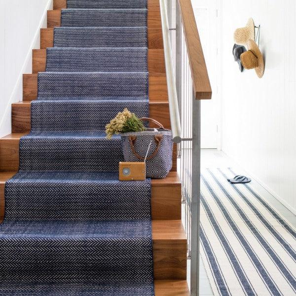 Cotton Rug - Herringbone Indigo