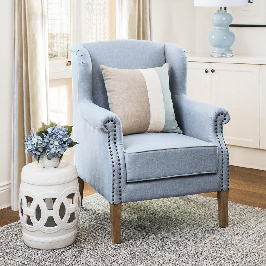 Duck Egg Blue Linen Wingback Armchair