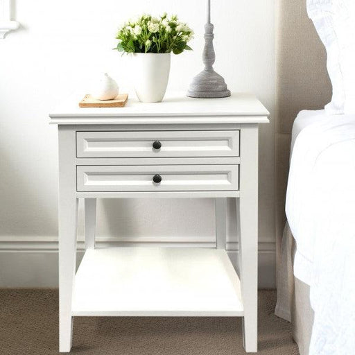 White Bedside Table - 2 Drawers