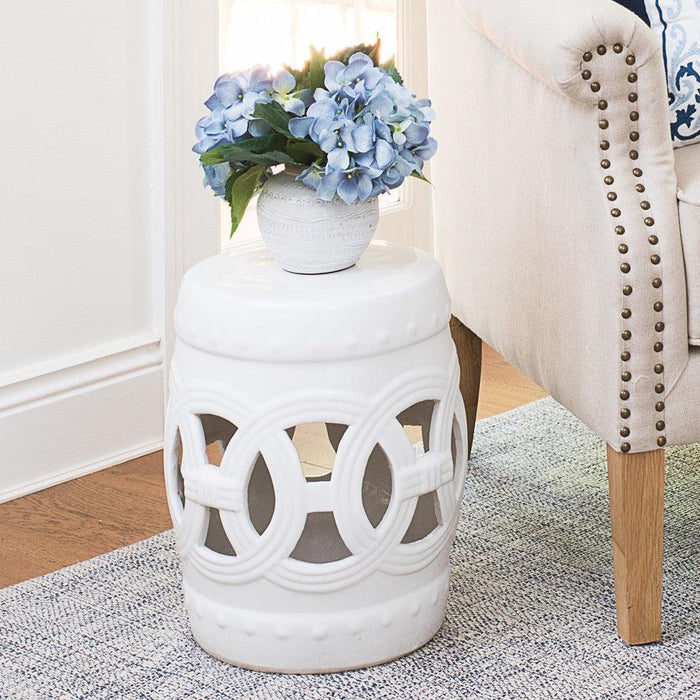 Ceramic Circle Stool - White