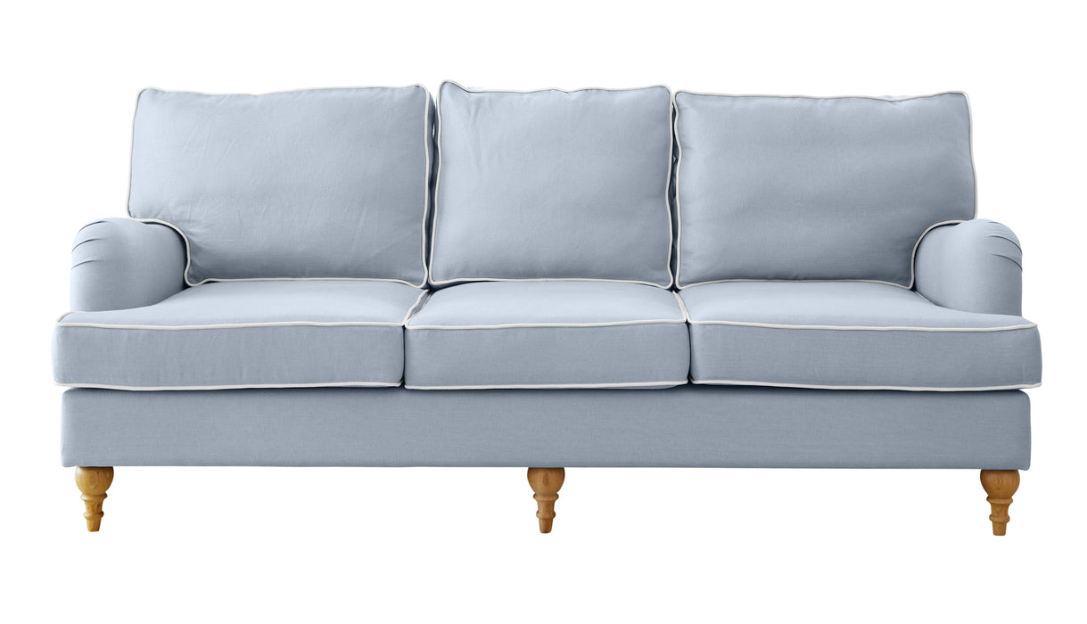 Duck Egg Blue Linen Roll Arm Sofa - 2 Sizes Available