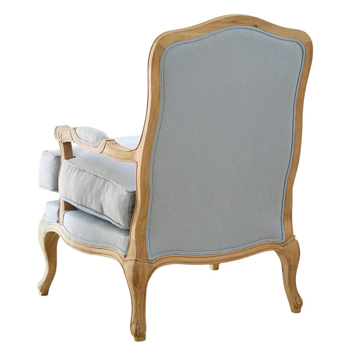 French Louis Chair - Duck Egg Blue Linen with Oak Frame