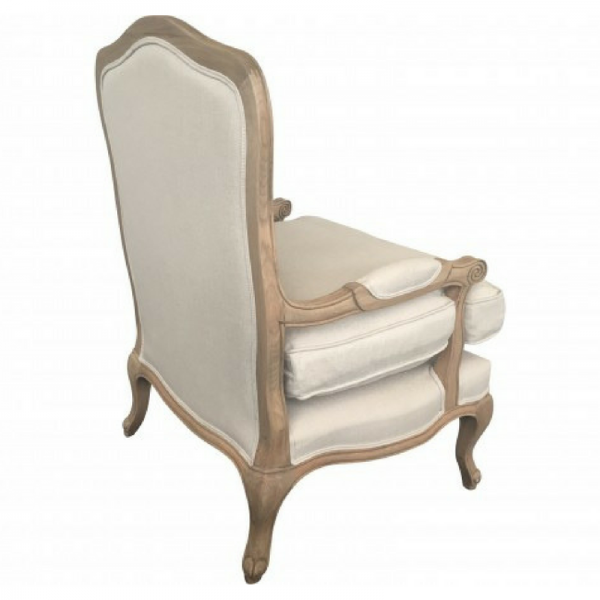 French Louis Chair - Natural Linen with Oak Frame