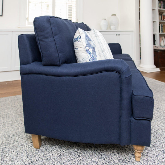 Navy Linen Roll Arm Sofa - 3 Seater