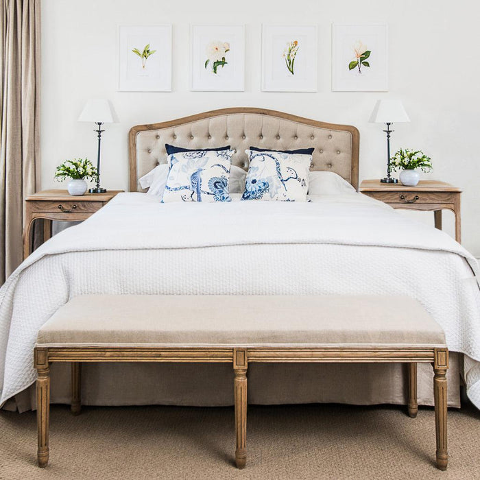 Natural Buttoned Linen and Oak Camelback Bedhead - Queen & King