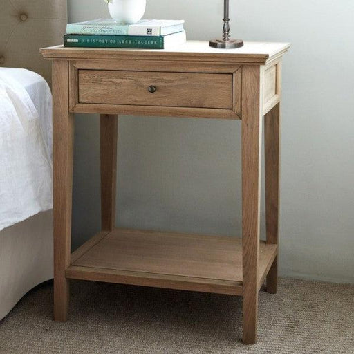 Oak Bedside Table - 1 Drawer