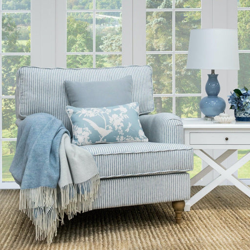 Blue Striped Linen Roll Armchair