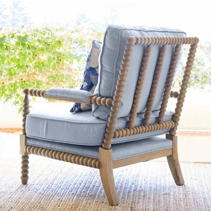 Oak Bobbin Armchair - Duck Egg Blue Linen