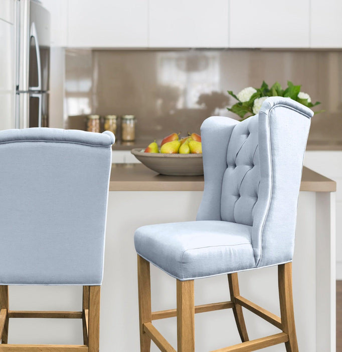 Duck Egg Blue Linen Bar Stool