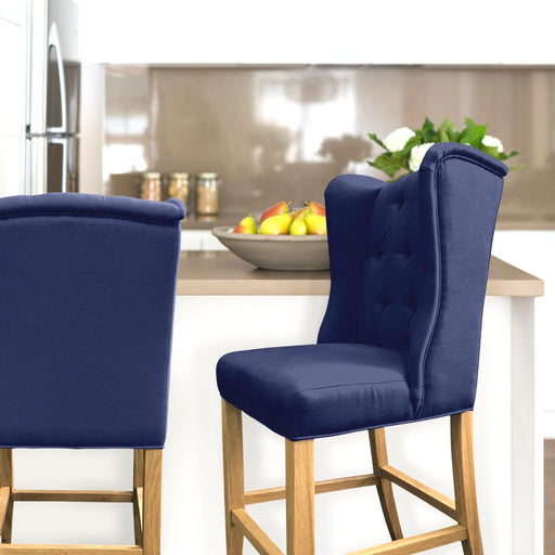 Navy Linen Bar Stool