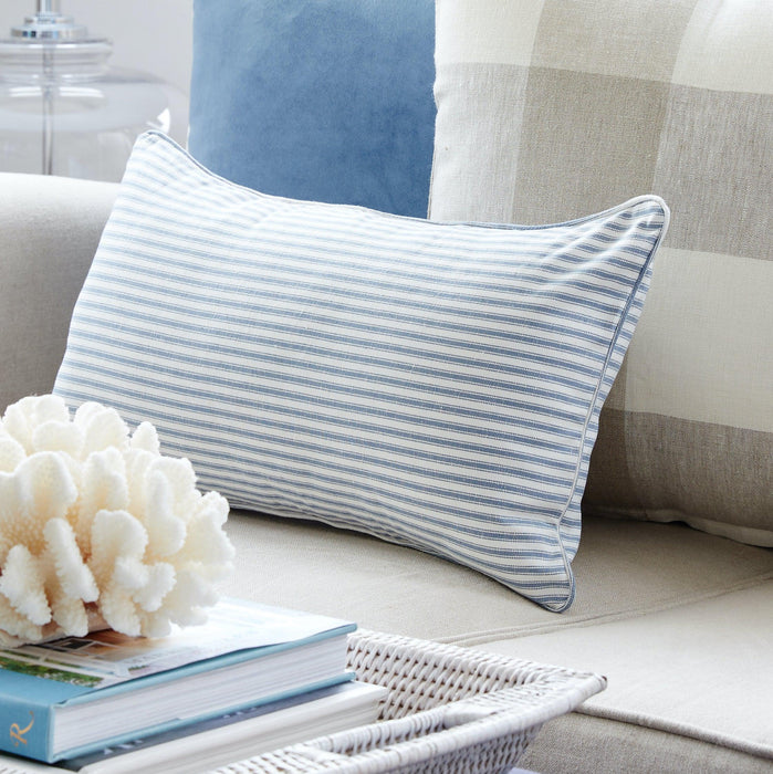 Blue Ticking Stripe Cushion - Rectangle