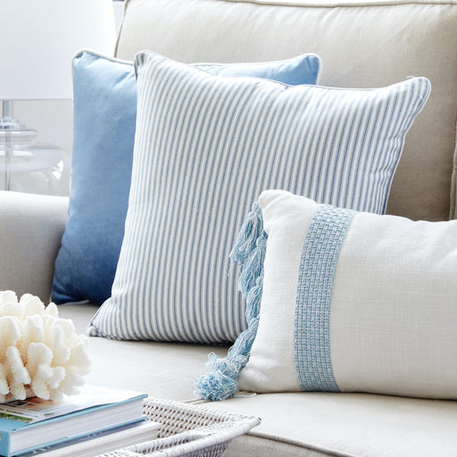 Blue Ticking Stripe Cushion Square