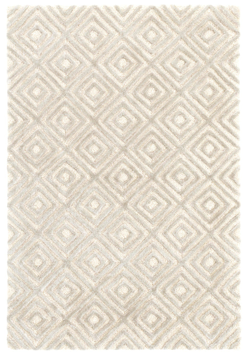 Wool & Viscose Rug - Cut Diamond Silver