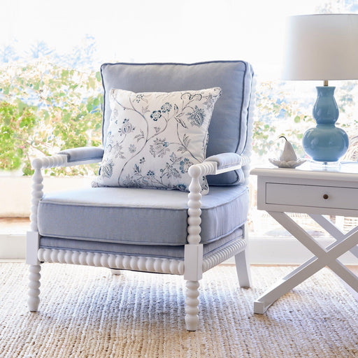 White Bobbin Armchair - Duck Egg Blue Linen