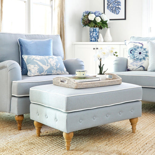 Duck Egg Blue Linen Foot Stool - Roll Armchair