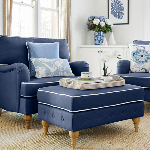 Navy Linen Foot Stool for Roll Armchair- navy or white piping