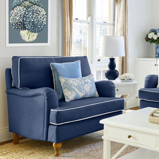 Navy Linen Roll Armchair - navy or white piping