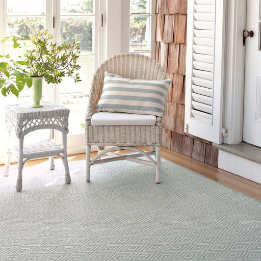 Indoor/Outdoor Rug - Diamond Light Blue and Ivory