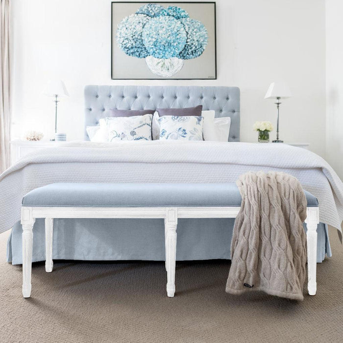 Duck Egg Blue Linen Studded Bedhead Package