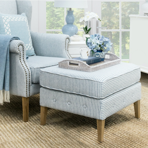 Blue Striped Linen Foot Stool for Wingback Armchair