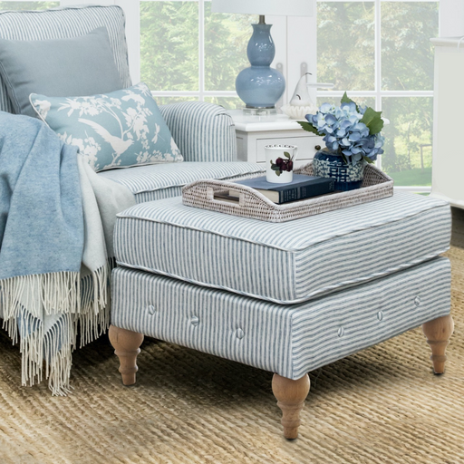 Blue Striped Linen Foot Stool for Roll Armchair