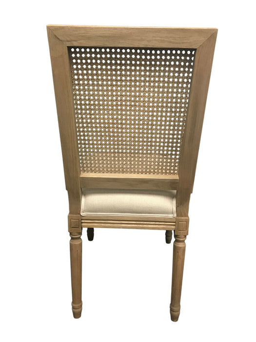 Rattan Back Linen Dining Chair