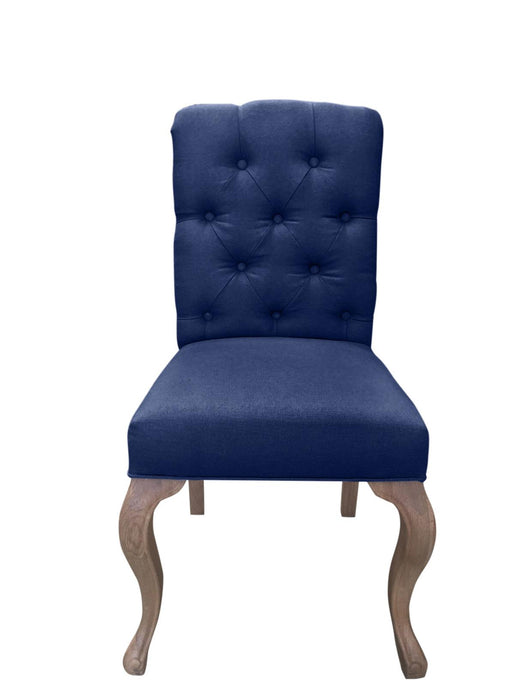 Navy Linen French Style Buttoned Dining Chair