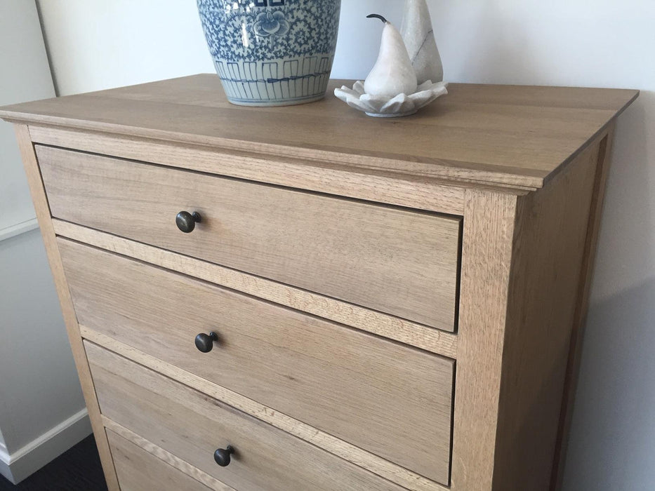 Oak Tall Boy Chest Of Drawers - 5 Drawer