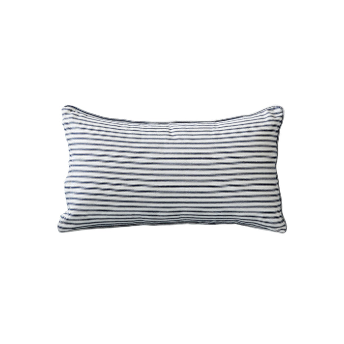 Navy Ticking Stripe Cushion - Rectangle