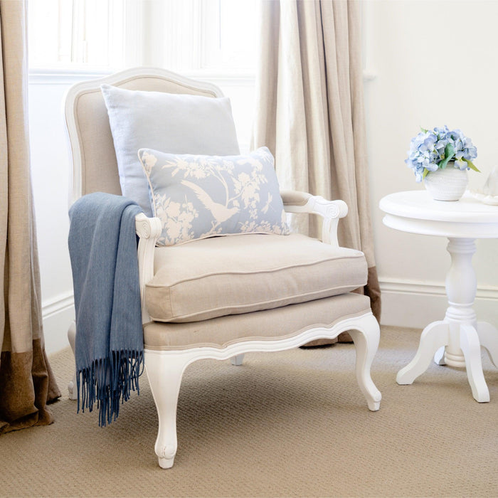 French Louis Chair - Natural Linen with White Frame