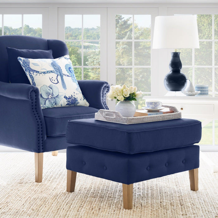 Navy Linen Foot Stool for Wingback Armchair