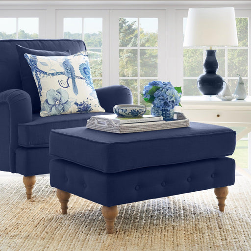 Navy Linen Foot Stool - Roll Armchair