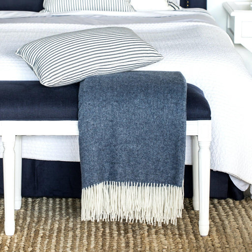 Navy Wool & Cashmere Throw