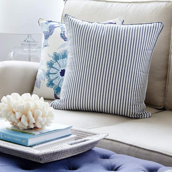 Navy Ticking Stripe Cushion Square