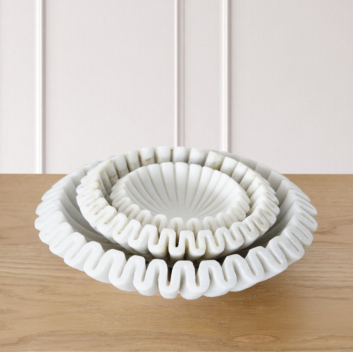 Marble Fluted Bowl - 3 Sizes