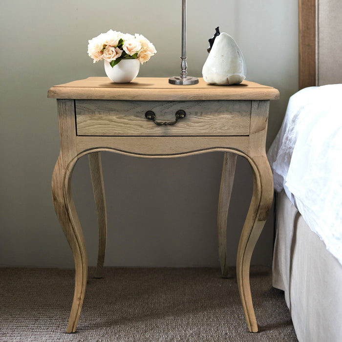 Oak Bedside Table - French Style