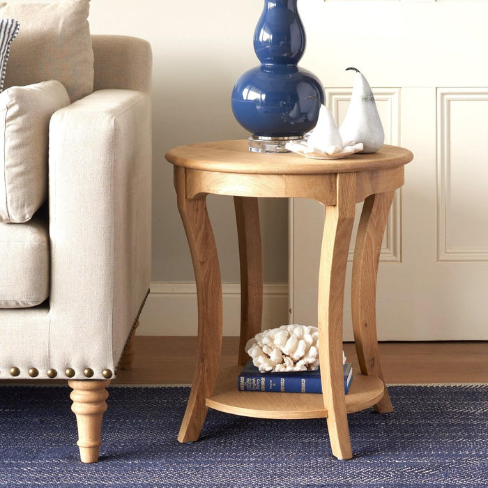 Round Oak Side Table With Shelf