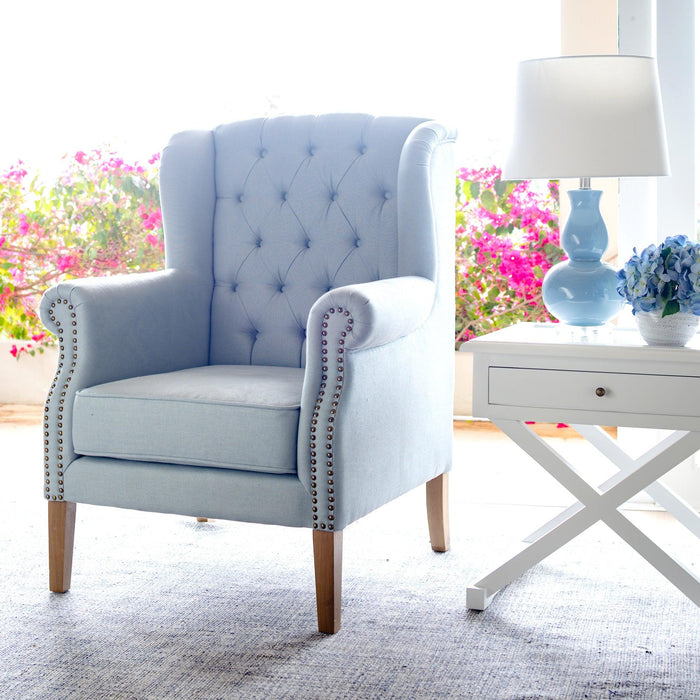 Duck Egg Blue Linen Buttoned Wingback Armchair