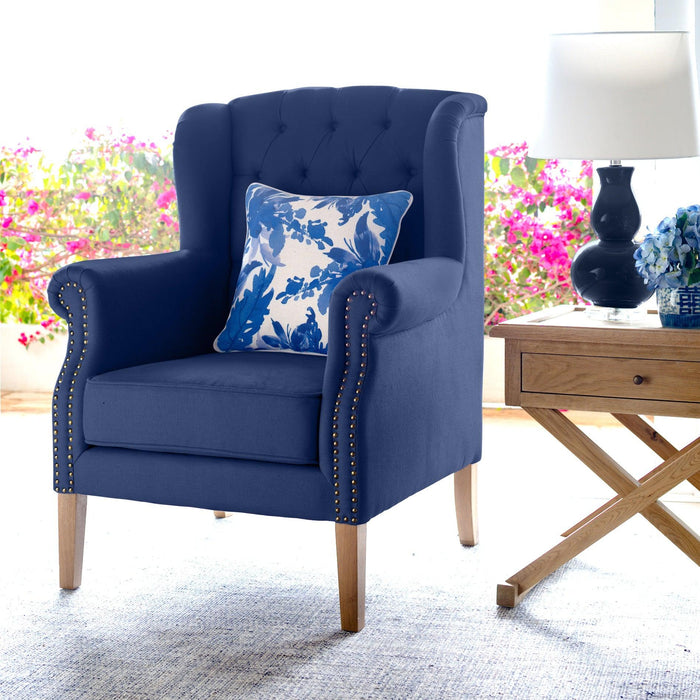 Navy Linen Buttoned Wingback Armchair