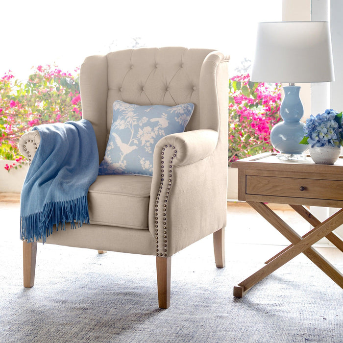 Natural Linen Buttoned Wingback Armchair