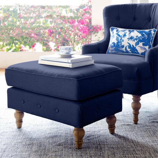 Navy Linen Foot Stool - Buttoned Armchair