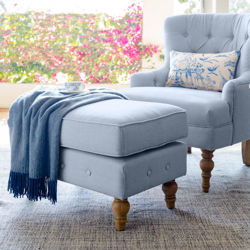 Duck Egg Blue Linen Foot Stool - Buttoned Armchair