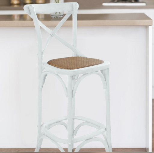 White Cross Back Bar Stool
