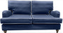 Navy Linen Roll Arm Sofa - 2 Sizes- navy or white piping