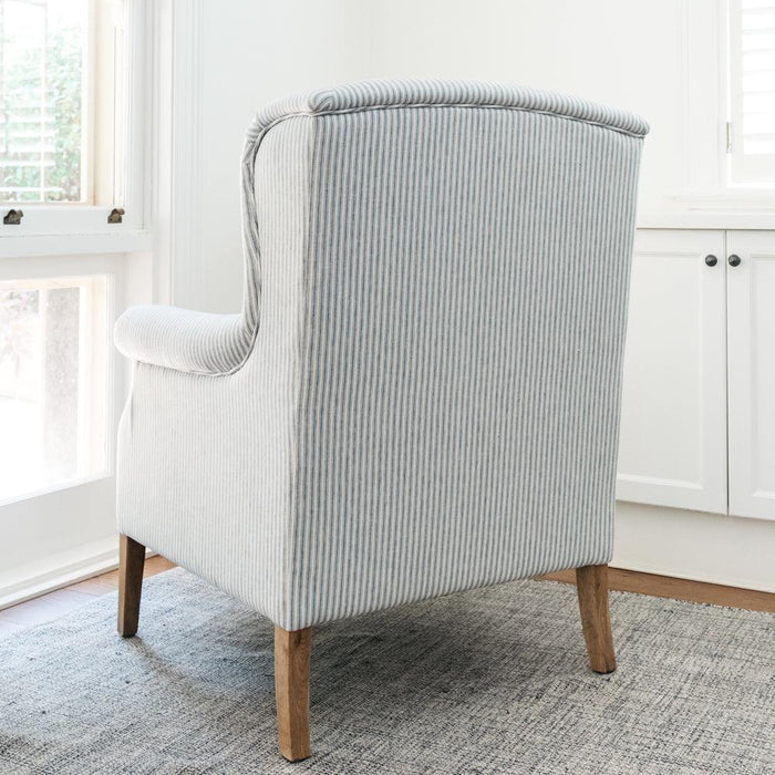Blue Linen Striped Wingback Armchair