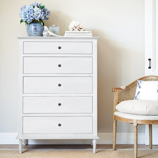 White Tall Boy Chest Of Drawers - 5 Drawer - Overstock