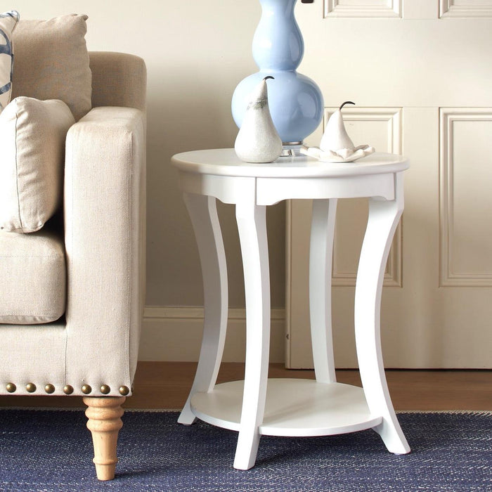 Round White Side Table With Shelf